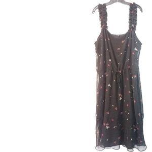 XXL Who What Wear Floral Tie Waist Chiffon Dress